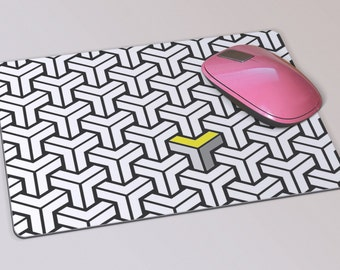 Fabric Mousepad, Mousemat, 5mm Black Rubber Base, 19 x 23 cm - Black, White, Yellow and Grey Geometric Patterned Mousemat Mousepad