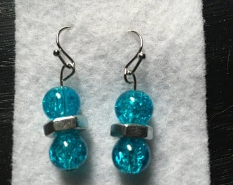 Glass Beads with Hex Nut Earrings