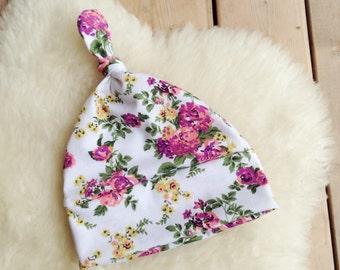 White Floral Top Knot Baby Beanie, Infant Hat, Newborn Beanie, Jersey Knit Hat, Newborn Hat