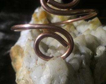 Solid Copper Bangle w/ Swirl Design