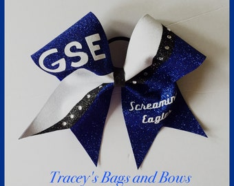 Cheer Bow~Royal, black and white with rhinestones~Softball Bow