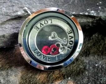 Love Memory Locket, build your own locket, birthstone locket, floating charms memory locket, OOAK