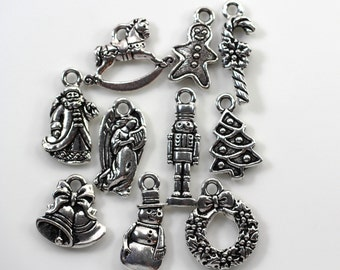 Christmas Charms, TierraCast, Christmas Collectable Charms, Antique Fine Silver Plated Lead Free Pewter, 10 Pieces