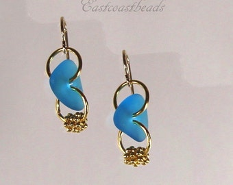 Sea Glass Pebble Dangle Earrings Gold Filled With Hypoallergenic Ear Wires~Blue