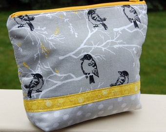 The Bird Print Gray Pouch, Makeup/cosmetic Bag.