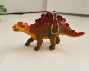 Dinosaur keychain, lanyard bling, one of a kind, backpack buddy, zipper pull, vintage toy, unique gift!