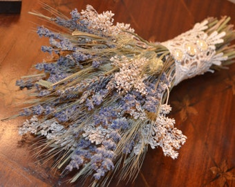Wedding Bouquet, Dried Wedding Bouquet, Lavender Bouquet, Dried Flower Bouquet, Wildflower Bouquet - Can Be Made to Order