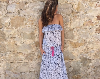 Maxi dress: Printed, ruffle trim, maxi summer dress, Khara