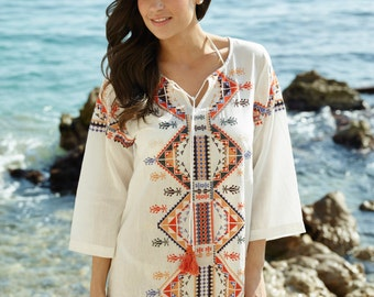 Resortwear: Cotton beach dress with colourful aztec-style embroidery, Sonoma