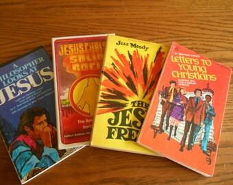 1970's Jesus Freak Paperbacks, the Look of the 1970's Radical Christian, Retro Christian Books, Funky Hip Christian Paperbacks, Baby Boomer