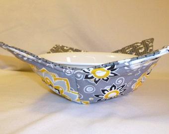 Bowl Cozy/Microwave Bowl Holders/Flowers/Pot Holders/Grey/Yellow/Black