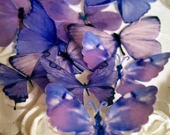 12 Edible Pastel Lilac Butterfly Edible Cake / Cupcake Toppers,©