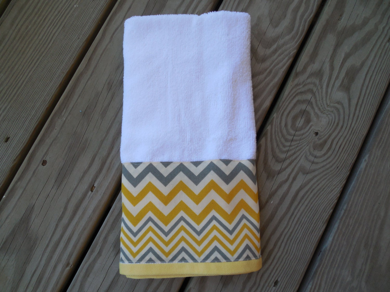 Yellow gray hand towel chevron decorative guest bath towel for Decorative bath towels