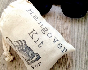 """Hangover Kit Bags: Bachelor Party, Groomsman Gifts, Wedding Favors. Stag Do Favours. Personalized initials. 4x6"""" or 5x8"""" Qty. 10"""