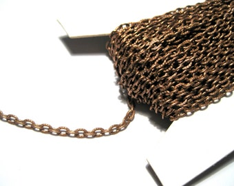 30ft / Spool Antique Copper Textured Links-Opened Cable Chain ( No.721)