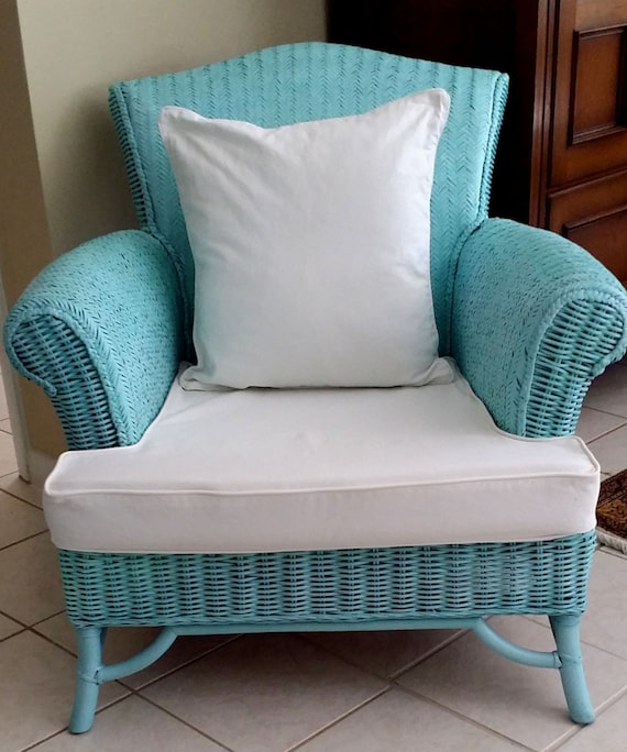 Wicker Aqua Color Patio Porch Back Yard Chairs By Feridesigns