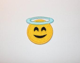 Heart Eyes Emoji Angel Face Patch Iron On Sew On Felt Patch
