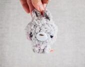 Gray Bunny Stuffed Plush Keychain with Pink Shirt - Gray Bunny Rabbit - Kawaii Plush
