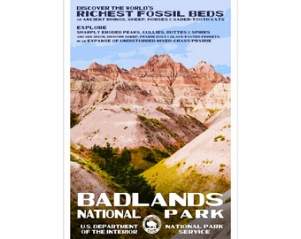 "Badlands National Park WPA-style poster. Color. 13"" x 19""  Original artwork, signed by the artist!"