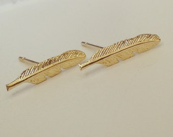 Feather stud earrings, Gold feather stud earrings, Gold filled stud earrings, Feather earrings, Gold feather earrings, Feather studs