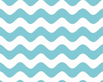 Wave Cotton Fabric in Aqua and White from Riley Blake
