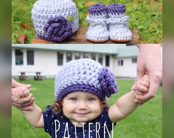 Crochet pattern,Crochet Hat and Bootie pattern, Crochet bootie pattern