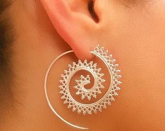 ON SALE 15% OFF Silver Earrings - Silver Spiral Earrings - Gypsy Earrings - Ethnic Earrings - Silver Jewelry - Ethnic Jewelry - Gypsy Jewelr