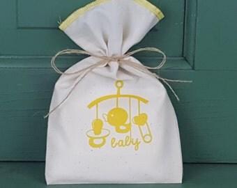 Baby Shower Favor Bag, Muslin Bag, Baby Mobile, Fabric Bag, 5 x 8, Boy or Girl, Boy or Girl Baby Shower