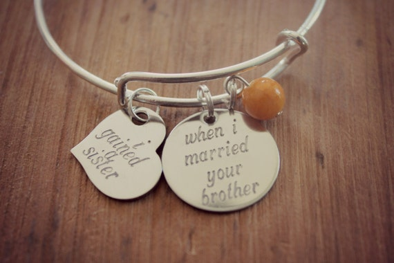 Wedding Gift Ideas For Brother In Law : Sister of the Groom Gift, Sister In Law Bracelet, Personalized Hand ...