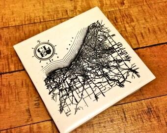 Cleveland Map Coaster