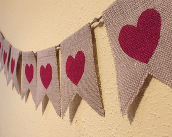 Burlap Heart Banner (7 flags)