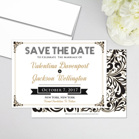 retro vintage art deco gatsby save the date personalized. Black Bedroom Furniture Sets. Home Design Ideas
