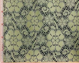 """Light Yellow Big Flower Lace Fabric Polyester 58-60"""""""