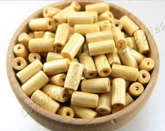 Tube Wood Beads, 50 pcs Wooden Beads, (12mm x 6mm) Cream Wood Bead, Cylinder Natural Wood Beads, Craft Wood Beads, Wooden Beads