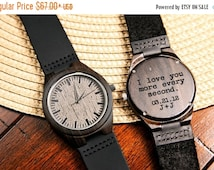 BLACK FRIDAY WEEK Black Wood Engraved Watch Personalized Watch; Gift for Him, Anniversary, Weddings, Groomsmen, Best Man, Christmas for Him,