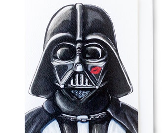 Vader LOVE Card for Valentine's Day or An Anniversary. Perfect for any Star Wars Fan! Blank Card w/Envelope {Single Card}