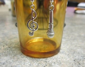 Music Note / Microphone  Earrings - 1 pair - Free Shipping!