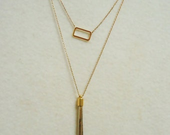479. Dainty Layered Necklaces, Tassel Necklace and Rectangle Pendant Necklace,Tassel Pendant Necklace, for gift.
