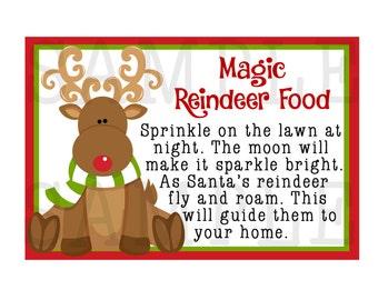 Reindeer Food Tags-Magic Reindeer Food Stickers-Set of 12