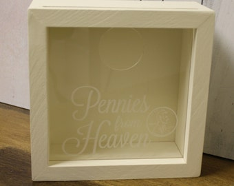Pennies from Heaven/Coin Holder/Father's Day/Man Gift/Engraved/Anniversary Gift/Wood Coin Holder