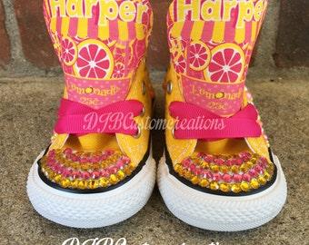 Pink Lemonade Converse,  Lemonade  Chucks, jewels Converse, Custom Bling Converse, Pink Lemonade  Converse Chuck Taylor's
