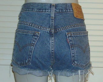 Vintage Levis 505 High Waisted Cut Off Blue Jean FESTIVAL Shorts~9~