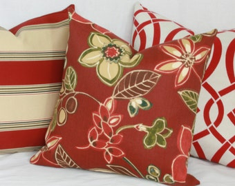 "Cherry red indoor/outdoor decorative throw pillow cover. 18"" x 18"" toss pillow."