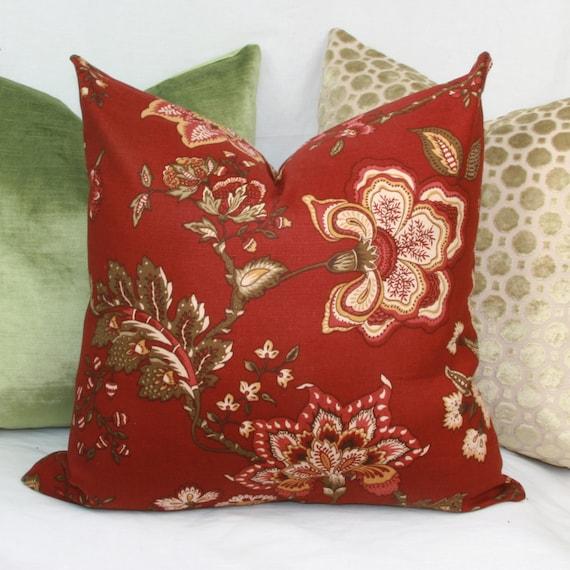 Burgundy Floral Throw Pillows : Items similar to Burgundy floral decorative throw pillow cover. 18