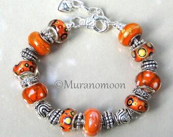 Glass Bead European Charm Bracelet Summer Fun Orange Tangerine Tropical Beach Glass Beaded Bracelet Gift For Sister Aunt Nana #EB1485