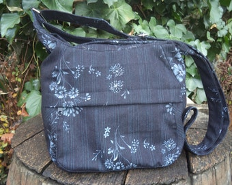 Black floral jeans shoulder bag,zippered bag