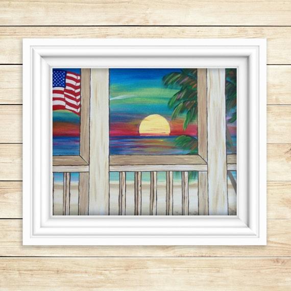 Print Americana Wall Art Beach Painting Beach Decor