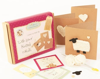 With love knitted cards - Learn to knit kit kit
