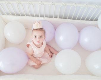 READY TO SHIP Blush Pink and Gold Felt Mini First Birthday Crown Headband, Glitter One, Baby Girl, Princess, Smash Cake Photo Prop, One Year