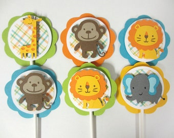 Safari Jungle Animal Baby Shower Birthday Cupcake Toppers Set of 12 Orange Yellow Green Turquoise Blue Elephant Lion Giraffe Monkey